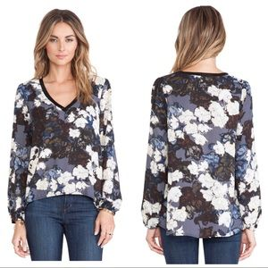 Revolve Eight Sixty Floral Blouse V Neck High Low